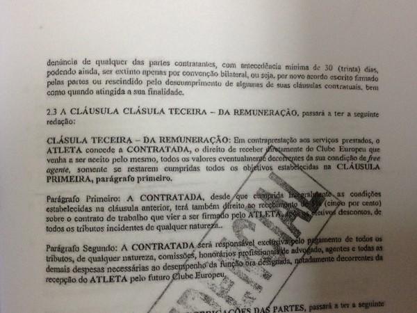 Cláusula do contrato entre Neymar e a empresa N& N que dá os direitos de venda do jogador para seus pais a partir de 2014