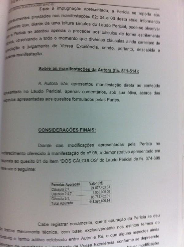 Cálculo do perito judicial que estima em R$ 118 milhões a dívida da Marfrig com a CBF