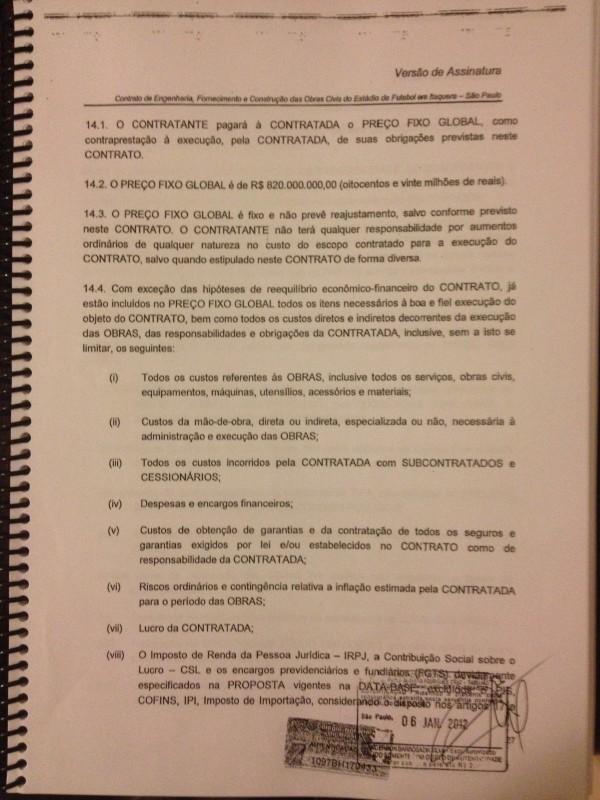 Contrato original que prevê que todos os itens da obra estão incluídos no preço global fixo de R$ 820 mi