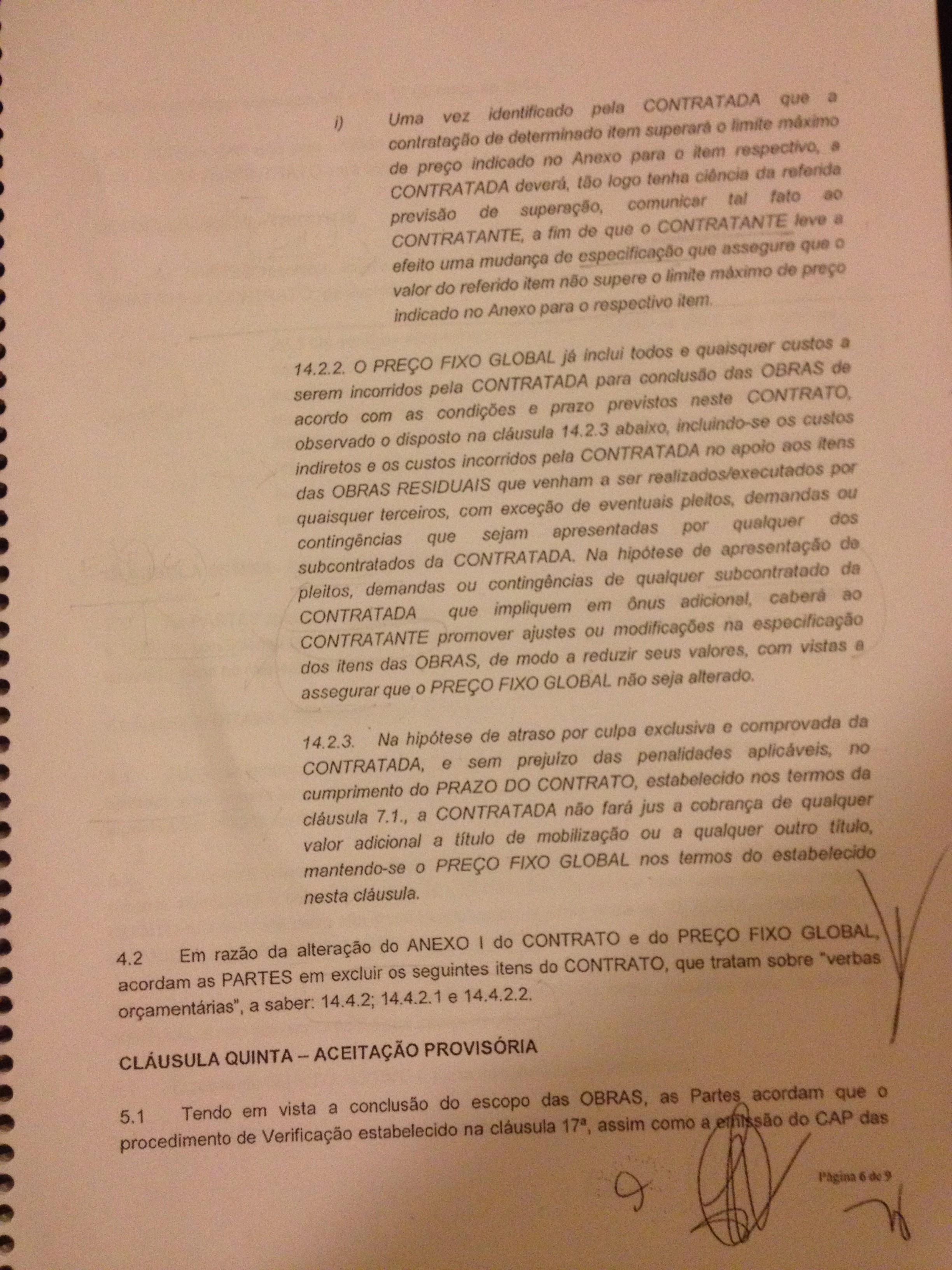 Quinto aditivo estabelece que o Corinthians tem que negociar possíveis reivindicações de fornecedores, e que isso não está no preço final
