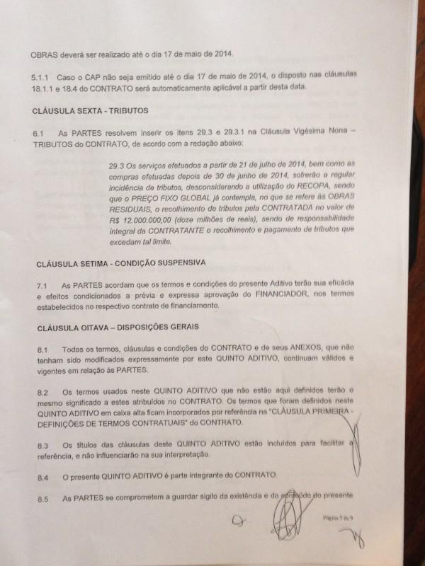 Quinto aditivo do contrato que prevê que impostos que excederem R$ 12 milhões serão pagos pelo Corinthians