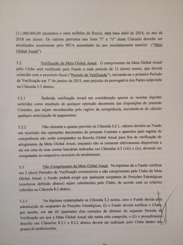 Página seguinte do contrato estabelece que, a partir de 2018, o clube tem que obter R$ 211 mi por ano com o estádio
