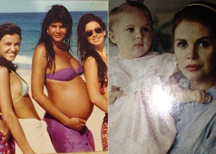 22.mai.2013 - Para comemorar o aniversário de 22 anos de sua filha Bárbara, que foi na última quarta-feira (22), Monique Evans publicou fotos nostálgicas de sua gravidez e da filha nos primeiros meses.