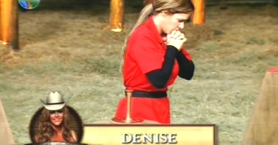 Denise vence última prova do fazendeiro de