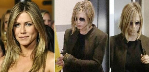Após uma progressiva malsucedida, Jennifer Aniston não teve outra alternativa a não ser cortar os cabelos e eliminar boa parte dos fios que ficaram comprometidos pela química agressiva
