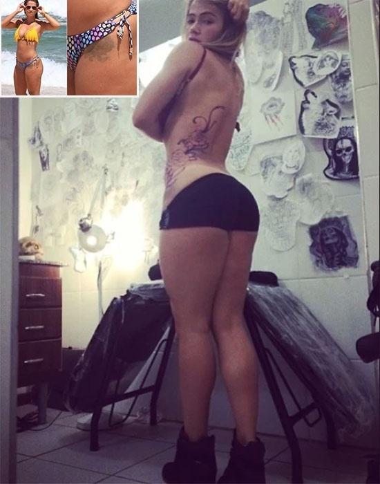 20.mar.2013 - Fani Pacheco publicou no Instragram algumas fotos da sessão de sua nova tatuagem. O desenho cobriu um outro antigo, feito em 2008, que a modelo tentou remover 6 meses após a criação. Na ocasião, a ex-BBB explicou que a tatuagem deveria se parecer uma rosa, e não um