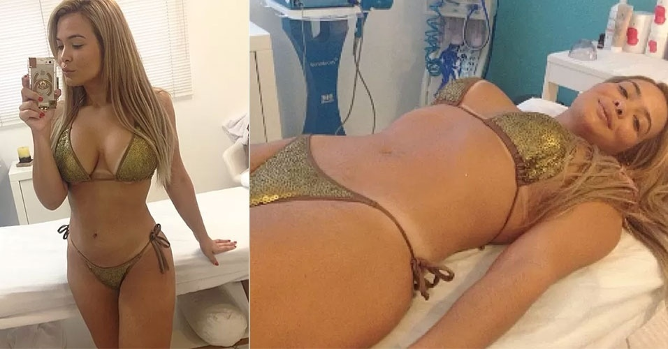 20.set.2014 - Após perder 14 quilos, Geisy Arruda parece estar decidida a não engordar novamente. Neste sábado (20), a loira postou imagem no Instagram em uma clínica estética, onde foi fazer uma massagem.