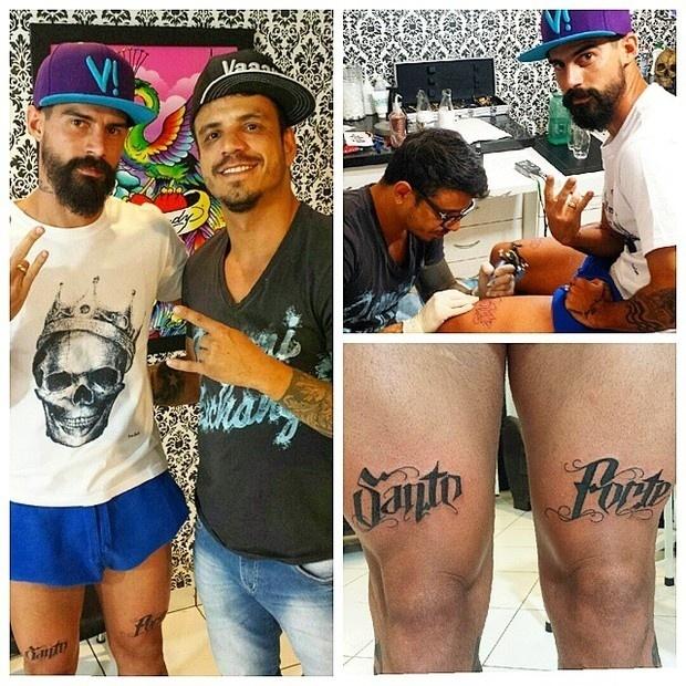 8.out.2014 - O jogador de futebol Radamés, noivo de Viviane Araújo, tatuou as palavras