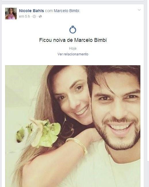 1º.fev.2016 - A apresentadora Nicole Bahls alterou o seu status de relacionamento no Facebook, passando de solteira para noiva. A gata está namorando o modelo Marcelo Bimbi há apenas dois meses, desde que ele deixou o reality