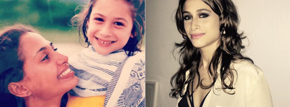 13.jul.2015 - Luisa Arraes aparece em foto na infância, no colo de Camila Pitanga, com quem divide cena atualmente na novela 'Babilônia'