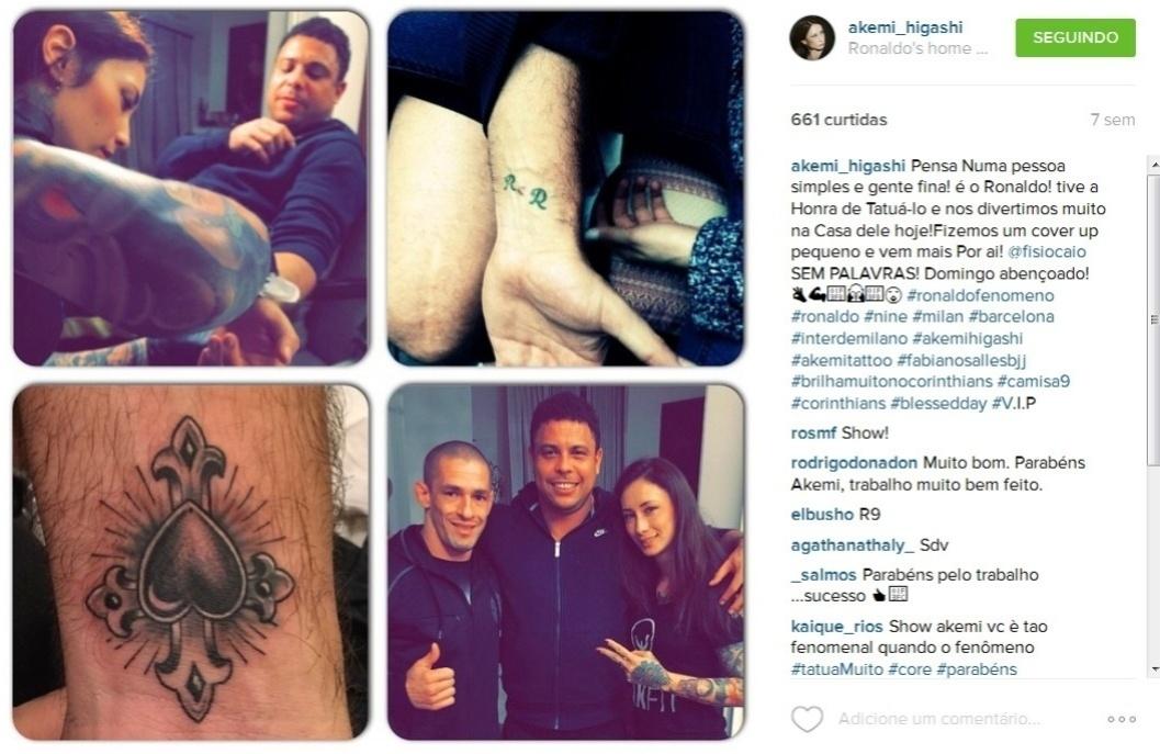 21.jul.2015 - Ronaldo cobriu a tatuagem no pulso esquerdo - que tinha as iniciais do seu nome e o da ex-mulher, Daniella Cicarelli - com um desenho de uma cruz e um coração. A mudança foi feita há duas semanas pela tatuadora Akemi Higashi.