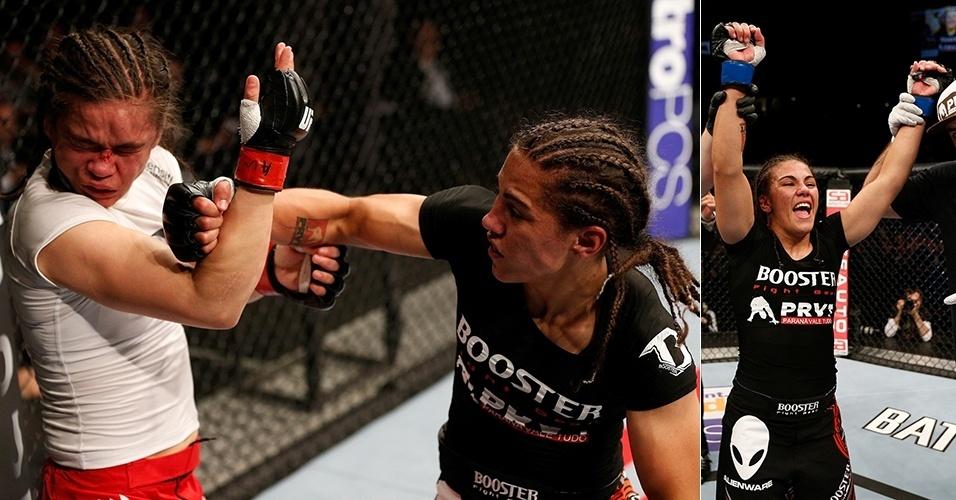 27.out.2013 - O dono do UFC, Dana White, considerou que a brasileira Jessica Andrade (dir.), conhecida como