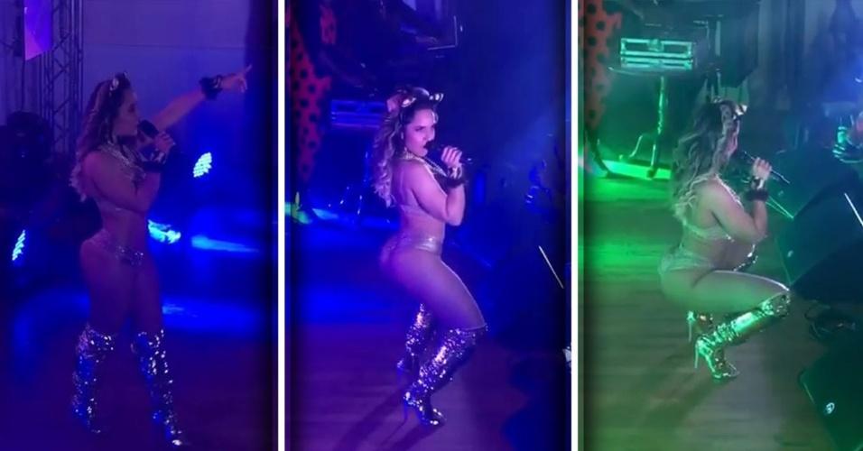30.out.2016 - Fantasiada de gatinha, Mulher Melão faz show nos Estados Unidos