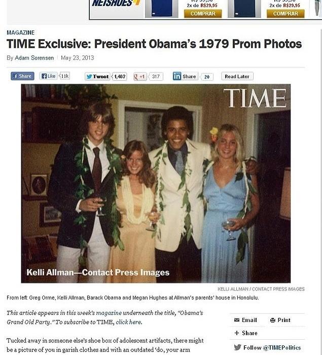"""23.mai.2013 - A revista """"Time"""" publicou uma foto inédita de Barack Obama, 51, nesta semana. Na imagem, o presidente dos Estados Unidos aparece aos 17 anos, pouco antes de ir a sua festa de formatura do ensino médio. A foto faz parte do arquivo pessoal de Kelli Allman, uma colega de escola do presidente americano no colégio Punahou, no Havaí. Na ocasião, Obama escolheu como acompanhante a loira Megan Hughes, estudante de uma escola só para moças"""