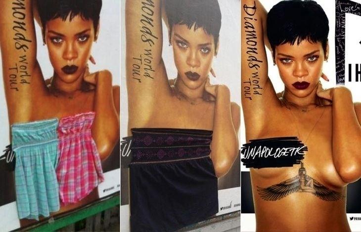"""14.jun.2013 - Cartaz que mostra Rihanna insinuando topless no anúncio do show da cantora em Dublin (Irlanda), no próximo dia 21, gerou polêmica entre um grupo conservadores, que, enfurecido, resolveu """"vesti-la"""" na marra grampeando peças de roupa na pop star (à esquerda e centro)"""