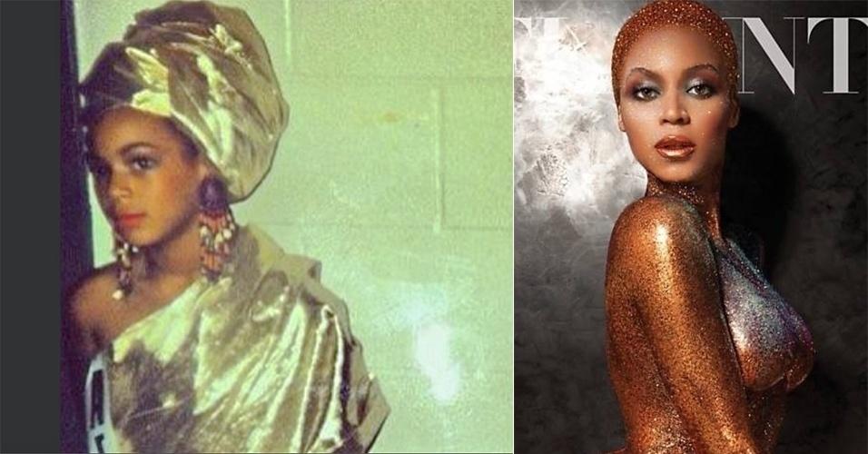 29.jul.2013 - Beyoncé divulgou uma imagem onde aparece ainda na infância usando um turbante dourado. A cantora, casada com o rapper Jay-Z, é mãe da menina Blue Ivy
