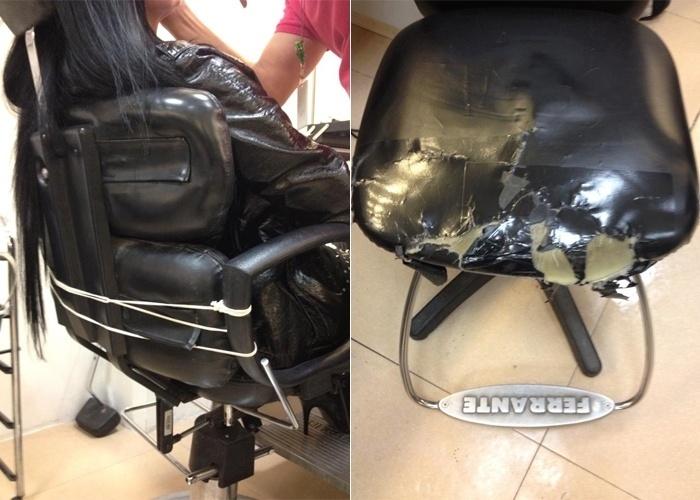 15.ago.2013 - Nanci Gil, filha do apresentador Raul Gil, divulgou na web duas imagens na web para denunciar as condições precárias da sala de maquiagem do SBT