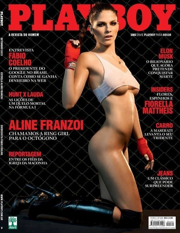 "6.set.13 - A revista ""Playboy"" divulgou a capa de setembro com a gata Aline Franzoi, primeira ring girl brasileira do UFC"