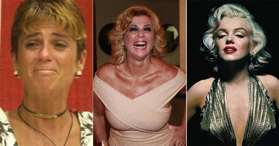 """7.set.2013 - A ex-BBB Cida adotou um visual bastante diferente do que exibiu durante o """"BBB2"""". Na última segunda-feira (2), ela prestigiou a estreia da peça """"Tamo junto e misturado"""", com Viviane Araújo no Rio. E ao ser questionada sobre o seu look, a loira comentou: """"O povo diz que eu pareço com a Marilyn Monroe e eu acredito, pois também sou fã dela, uma diva. Eu acho que deve ser por causa dessa coisa toda do cabelo, do loiro e acaba que as pessoas me acham mesmo parecida. Pode ver só na foto, fico a cara dela"""". Ao falar sobre seus truques de beleza, Cida ainda revelou: """"A minha receita é ser feliz e fazer as coisas que eu gosto. Onde eu chego, a minha luz ilumina"""". Você acha que a alegre Cida parece mesmo com Marilyn?"""