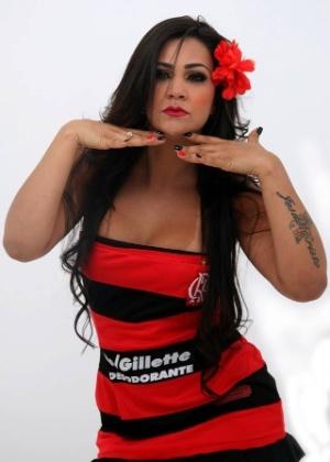 7.nov.2013 - Tati Neves aparece em imagens de quando disputou o concurso de musa do Flamengo no Brasileirão 2013. Dona de um corpo escultural, a morena mostra as curvas que supostamente encantaram o cantor Justin Bieber em sua visita ao Brasil.