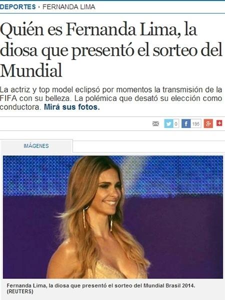 """6.dez.2013 - Fernanda Lima também foi notícia no periódico argentino Clarín, que destacou: """"A deusa que apresentou o mundial"""""""