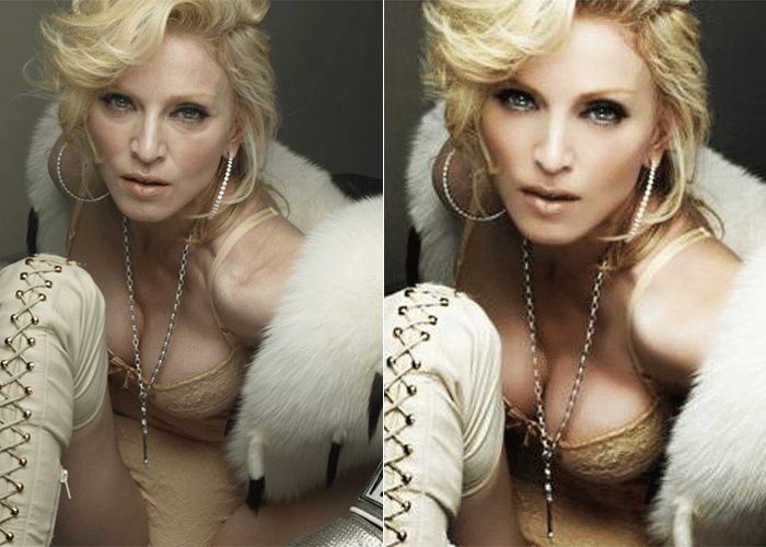 25.fev.2014 - Madonna aparece em imagens sem aquela ajudinha do Photoshop. As fotos foram feitas pelo fotógrafo Steven Klein, há cerca de quatro anos, e, de acordo com a revista Quem, foi o próprio Klein quem liberou as fotos sem retoques. Os registros são originais, feitos em 2010, quando a cantora estava com 51 anos. As imagens foram usadas em uma campanha da marca Dolce & Gabanna. Antes, algumas fotos sem Photoshop da cantora para promover sua turnê Hardy Candy já haviam caído na web