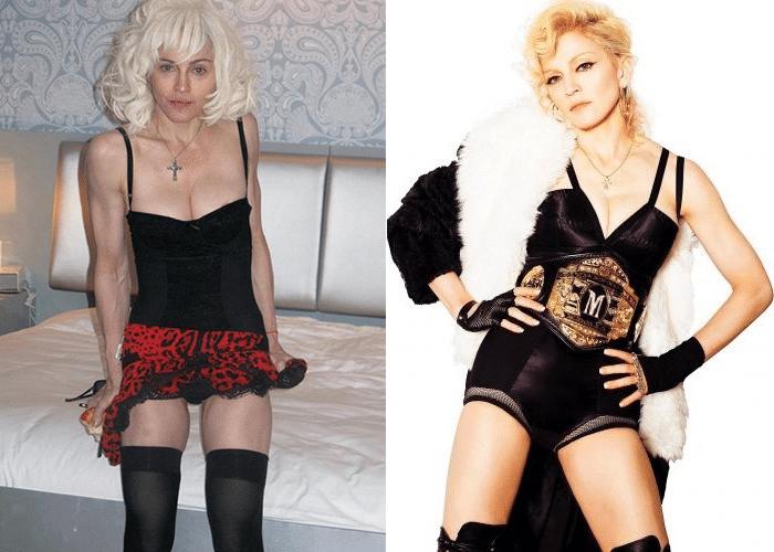 25.fev.2014 - Madonna aparece sem em imagens sem aquela ajudinha do Photoshop. As fotos foram feitas pelo fotógrafo Steven Klein, há cerca de quatro anos, e, de acordo com a revista Quem, foi o próprio Klein quem liberou as fotos sem retoques. Os registros são originais, feitos em 2010, quando a cantora estava com 51 anos na época. As imagens foram usadas em uma campanha da marca Dolce & Gabanna