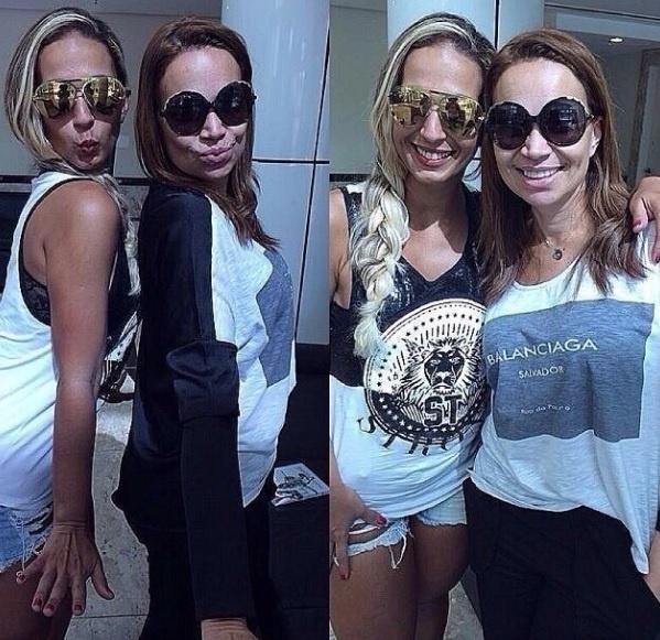 01.fev.2014 - A cantora Solange Almeida, do grupo Aviões do Forró, também posou ao lado de Valesca Popozuda