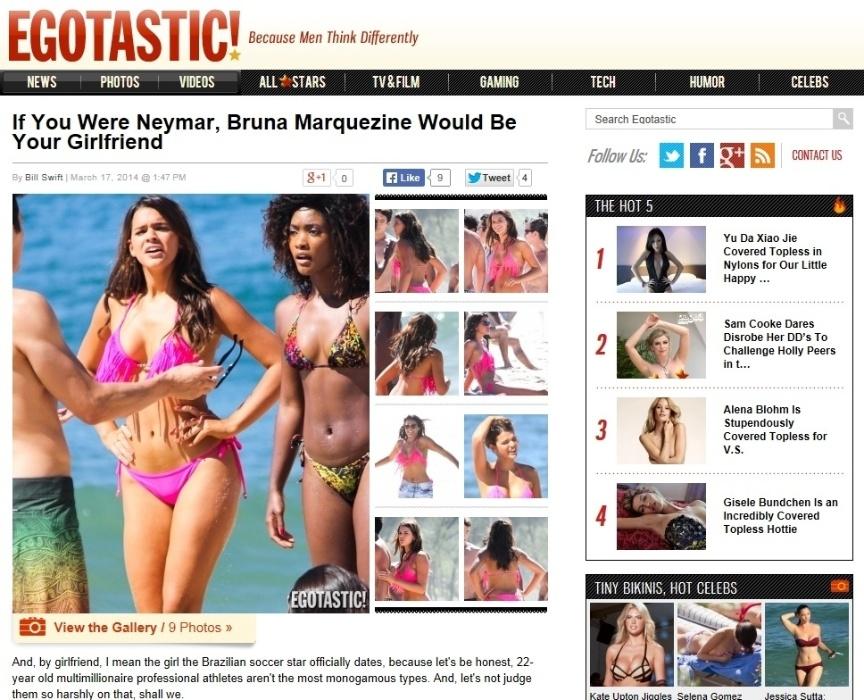 17.mar.2014 - Bruna Marquezine é destaque em site gringo como namorada de Neymar