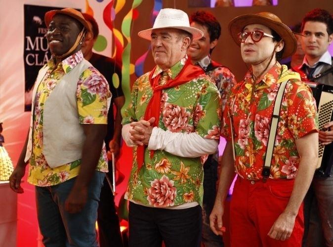 """2011 - Douglas Silva, Renato Aragão e Tadeu Melo gravam """"As Aventuras de Didi"""" em outubro de 2011"""
