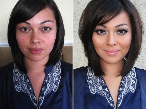 Nesta imagem, é possível notar um novo corte de cabelo e uma maquiagem leve destacando os olhos da jovem