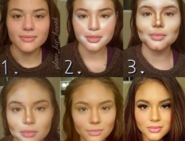 O maquiador mostra passo a passo com afinar um rosto redondo