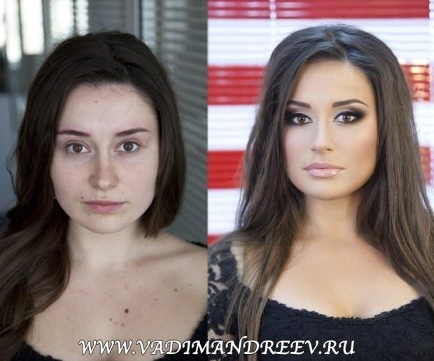 O maquiador russo Vadim Andreev também é famoso por tornar as pessoas praticamente irreconhecíveis após fazer seu trabalhoO maquiador russo Vadim Andreev também é famoso por tornar as pessoas praticamente irreconhecíveis após fazer seu trabalho