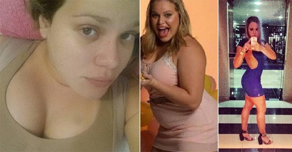 """15.abr.2014 - Após emagrecer 40 kg com uma dieta rigorosa e muito exercício, a ex-BBB Paulinha Leite revelou em seu perfil no Instagram que colocou silicone nos seios (esq.), além de ter feito uma lipoaspiração. """"Muitas de vocês perguntam se fiz lipo, fiz sim. Quando já tinha perdido 35 kg, resolvi ir pra faca (risos). Como publiquei antes, fiz uma vibro lipo na região das costas. E agora partiu silicone, porque os peitinhos não resistiram a tanto quilos perdido"""", explicou. A imagem central mostra a ex-sister com a silhueta mais cheinha, e, na foto à direita, do início de abril, Paulinha exibe as curvas que conquistou"""