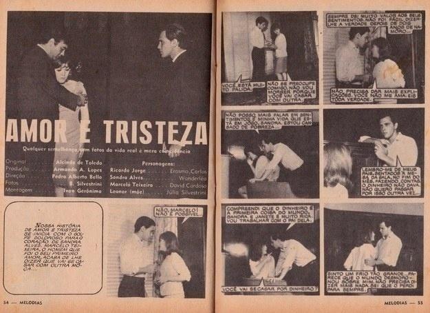 """Cantores famosos também faziam fotonovelas, como os astros da Jovem Guarda Erasmo Carlos e Wanderléa, que estrelaram """"Amor e Tristeza"""""""