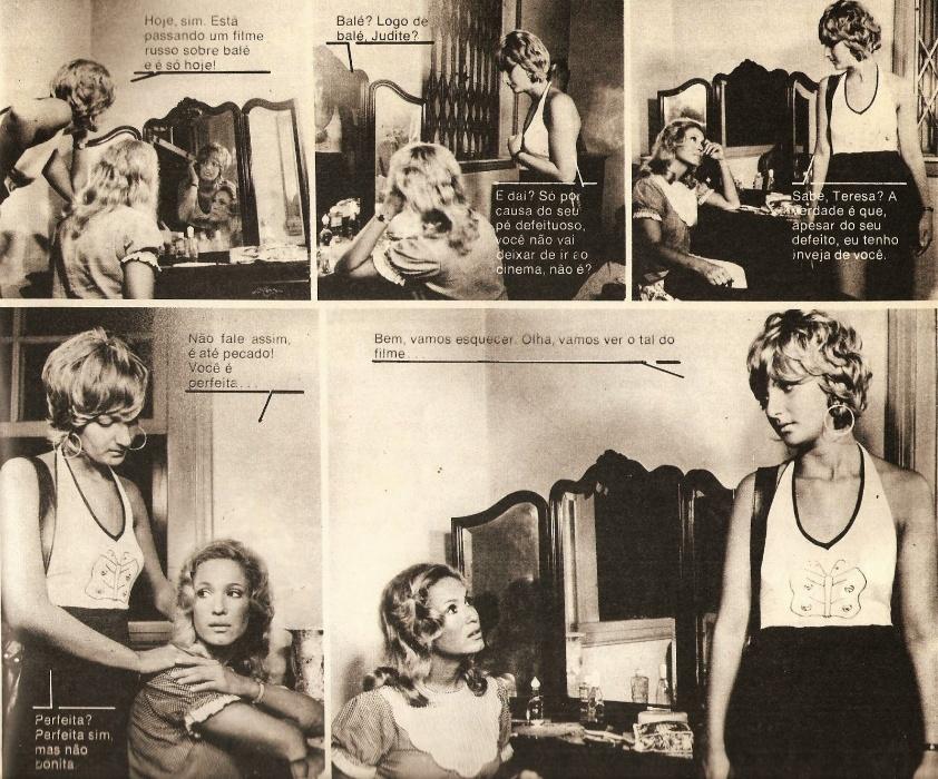 """Na fotonovela """"Milagre de Amor"""", a atriz Susana Vieira viveu Teresa, uma jovem bonita e vaidosa que odiava usar botinhas ortopédicas. """"Droga de vida"""", dizia Teresa"""