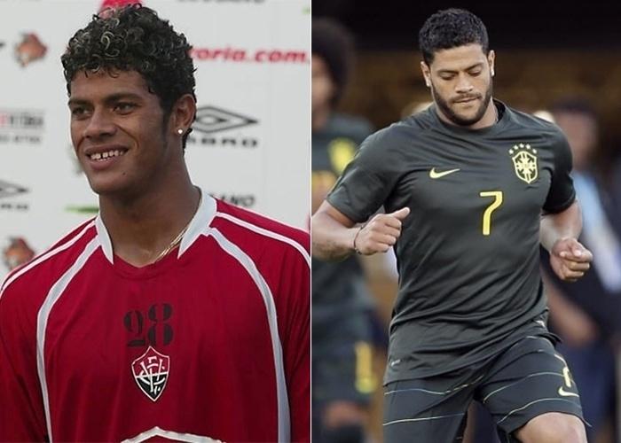 O jogador Hulk, então com 18 anos, em treino do Vitória. Na Copa de 2014, o craque é considerado um dos musos da seleção