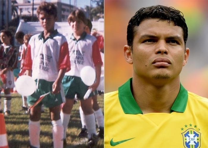 Thiago Silva na categoria de base do Fluminense. Na Copa de 2014, o jogador vestiu a tarja de capitão da seleção brasileira