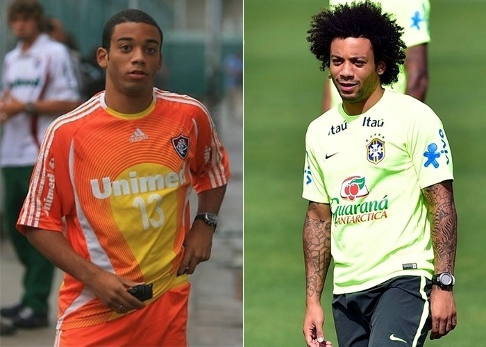 Marcelo Vieira da Silva Júnior, mais conhecido como o lateral Marcelo da seleção brasileira era bem franzino quando iniciou sua carreira no Fluminense em 2005. Com o passar do tempo, Marcelo ganhou músculos, muitas tatuagens e o cabelo black que conquistou outros adeptos no time