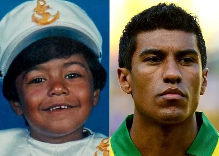 Nesta imagem sem data à esquerda, é possível ver José Paulo Bezerra Maciel Junior, conhecido como Paulinho, ainda muito pequenino. Aos 25 anos, o atleta é volante do time inglês Tottenham e meia-atacante da seleção brasileira