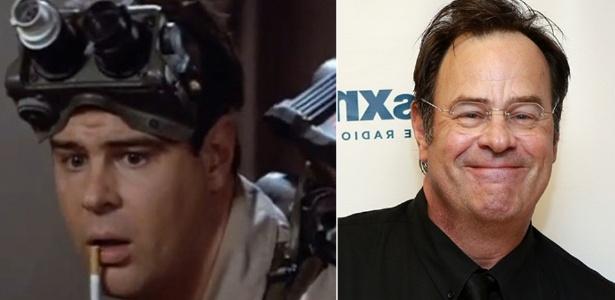 """O ator Dan Aykroyd, como dr. Raymond em """"Os Caça-Fantasmas"""" (1984) e atualmente"""