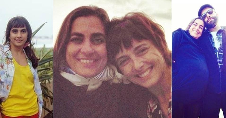 """22.jul.2014 - A atriz Carol Machado, 39, que fez sucesso na TV Globo nos anos 80 e 90, quando atuou nas novelas """"Top Model"""" (1989) e """"Vamp"""" (1991), está grávida de Teresa, sua primeira filha com a companheira, a artista e produtora cultural Patrícia Motta. """"Estou no oitavo mês, e o bebê já nasce agora em agosto. Ele foi muito desejado, muito esperado e planejado por nós. É uma felicidade plena, um amor sem fim. É um momento muito especial poder construir uma família"""", disse a atriz, sem revelar detalhes sobre a concepção do bebê. Carol, porém, admitiu que está """"casadíssima"""" com a companheira. A informação é da coluna """"Retratos da Vida"""", do jornal Extra. À esquerda, Carol em """"Top Model""""; no centro, com a companheira; à direita, a atriz mostra o barrigão com o amigo e ex-companheiro de novelas, Rodrigo Penna."""