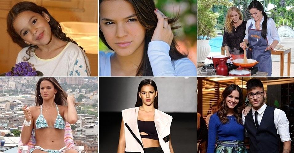"""A atriz Bruna Marquezine estreou em novelas no papel da pequena Salete de """"Mulheres Apaixonadas"""" (2003), da rede Globo. Na trama, ela emocionou o público ao ficar órfã. A atriz completa 19 anos de vida nesta segunda-feira (4.ago.2014) e já é dona de uma coleção de prêmios em sua carreira na TV, sendo o seu papel mais recente a personagem Luiza da novela """"Em Família"""". Relembre a trajetória da morena"""