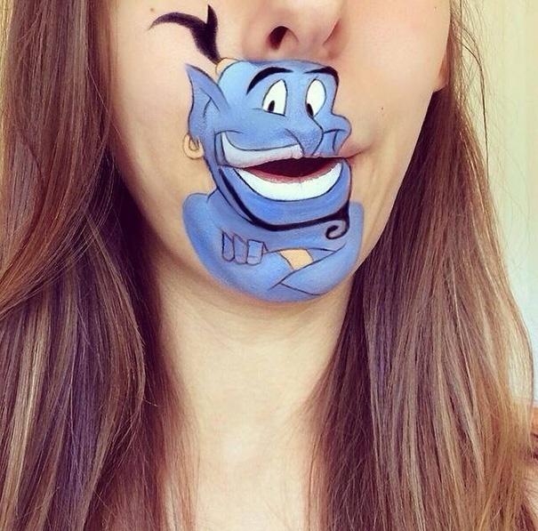 """22.ago.2014 - A maquiadora Laura Jenkinson fez uma maquiagem do Gênio, de """"Aladdin"""", clássico da Disney"""