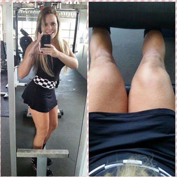 """2.set.2014 - A ex-BBB Paulinha Leite não descuida de sua forma física. Após perder quase 40 kg, a ex-sister continua pegando pesado nos treinos para manter a boa forma. A ex-gordinha publicou no Instagram um vídeo em que aparece malhando. """"Morrendoooo, nunca pensei que chegaria aqui... se eu não fosse eu ,eu seria minha fã"""", comentou, na legenda."""