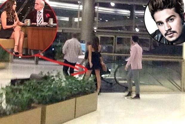"""restaurante Pobre Juan, em São Paulo, na noite de terça-feira (16). A atriz e o cantor foram flagrados na ocasião. Na imagem,  Bruna aparece com o mesmo vestido que usou para participar da gravação do """"Programa do Jô"""", que aconteceu na mesma"""
