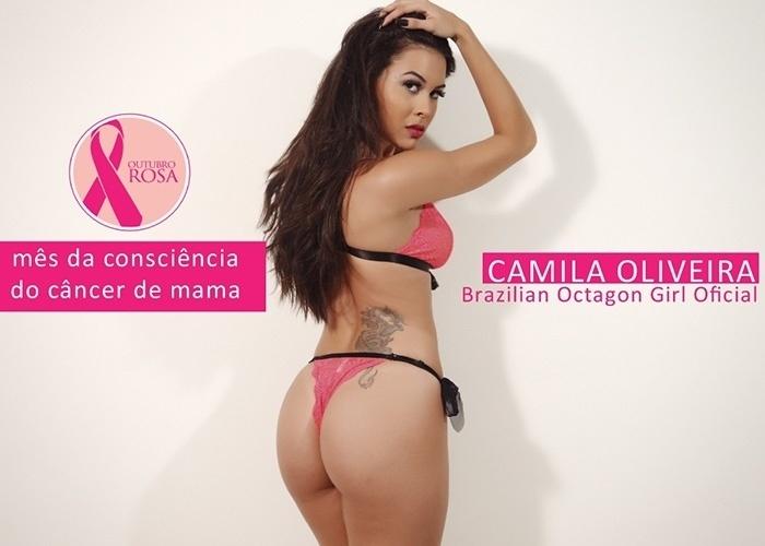 9.out.2014 - A ring girl do UFC Camila Oliveira fez ensaio dedicado ao