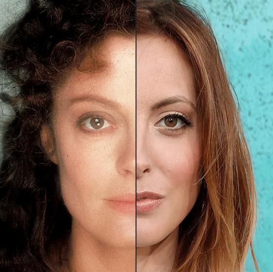 A montagem do site BuzzFeed mostrou que Susan Sarandon (esq.) Eva Amurri Martino, mãe e filha têm traços idênticos