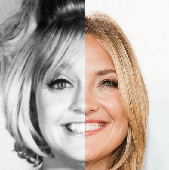Montagem do site BuzzFeed mostrou que Kate Hudson lembra bastante a mãe, Goldie Hawn