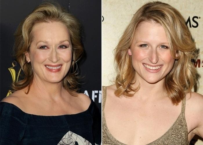 Na imagem, a atriz Meryl Streep e a filha, Mami Gummer. Você acha que as dias são parecidas? A montagem a seguir responde por si só